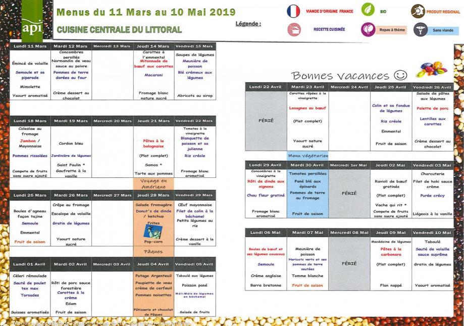 Menu scolaire du 11 mars au 10 mai